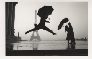 Eiffel Tower 100th Anniversary Umbrella Dance French Postcard