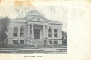 Galion Ohio~Man on Steps~Carnegie Public Library~1906 Postcard