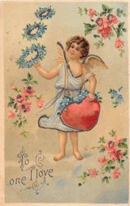 D75/ Valentine's Day Love Postcard c1910 Newfoundland Penn Glitter Cupid 16
