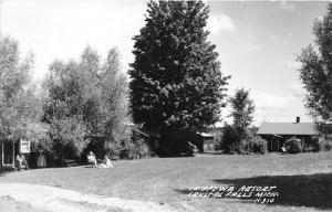 Crystal Falls Michigan~Chippewa Resort~Ladies Sitting on Lawn~Man @ Cottage~RPPC