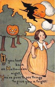 Raphael Tuck Witch J-O-L Halloween Poem Rare Postcard