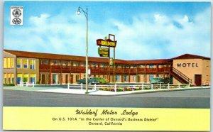 1950s OXNARD California Postcard WALDORF MOTOR LODGE Highway 101 Roadside Unused