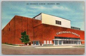 Cincinnati Gardens Ohio Auditorium~Linen~Art Deco~Kramer Art Postcard 1957