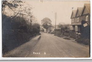 Sussex; Rake Village RP PPC, c 1920, Shows Sun Inn & Garage, From Windy Ridge