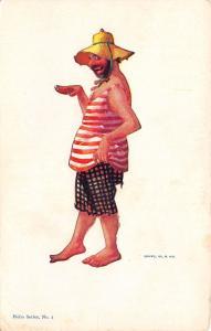 R Hill~Hobo Series~Beach Bum in Straw Hat~Bathing Beauty Pose~1905 Postcard