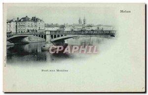 Old Postcard Melun Bridge to Mills