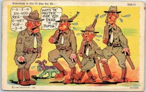 Artist-Signed RAY WALTERS Comic WWII Postcard Everybody is Out of Step But Me