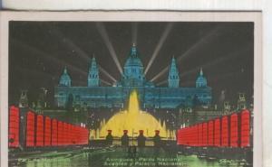 Postal  coloreada de epoca  0148 : Avinguda y Palau Nacional de Barcelona