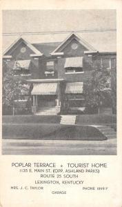 Lexington Kentucky Poplar Terrace Tourist Home Antique Postcard K95109