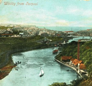 WHITBY Larpool Viaduct Aerial View Sailboats River Esk North Sea Vtg Postcard