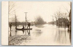 Three Rivers Michigan~Man Pilots Boys in Rowboat~Homes on Street~1908 Flood RPPC