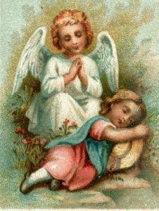 1880s90s Religious Benziger & Co. Switzerland Angel & Sleeping Child P222