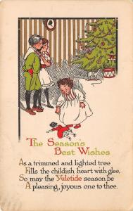 Christmas~Brother & Sister~Decorated Tree~Lil Girl & Dolly~Gold Leaf~1920s PC