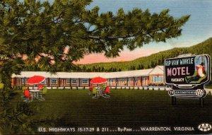 Virginia Warrenton Rip Van Winkle Motel 1956