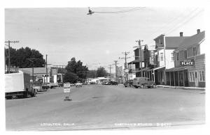 Loyalton California~Brick's Place~Hotel~Pool~White's Gas Station~1950s Cars~RPPC