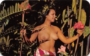 E7/ Tahiti Postcard Chrome Nude Native Woman Flowers 4