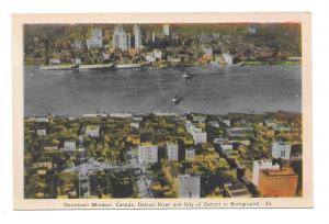 Canada Downtown Windsor Detroit River Vintage Aerial View PECO Postcard