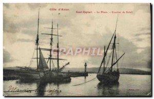 Old Postcard Saint Raphael Le Phare Coucher De Soleil Yacht