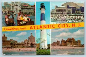 Postcard NJ Banner Multiview Greetings From Atlantic City New Jersey P2