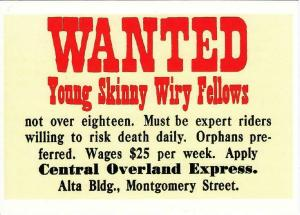 Pony Express Want Ad Young Skinny Wiry Fellows Repro Postcard