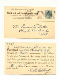British Foreign Bible Society Canada Newfoundland Canada Postal Stationery, 2...