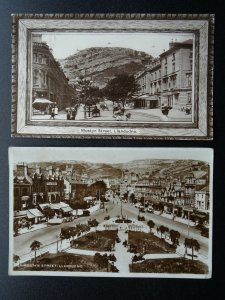 Wales LLANDUDNO 2 x Mostyn Street & The Orme c1906 & c1930s RP Postcard
