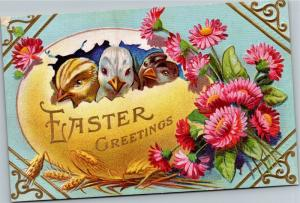 Three Chicks in an Egg, Easter Greetings Vintage Postcard M14