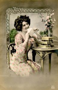 Woman -  Sending a love letter  *RPPC   (colorized)