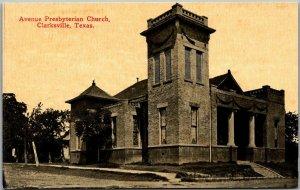 Clarksville, Texas Postcard Avenue Presbyterian Church Building View c1910s