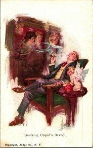 Vtg Postcard 1911 Monahan Artist Signed Smoking Cupid's Brand Women Man Smoking