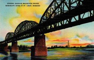 Missouri St Louis General Douglas Macarthur Bridge Over Mississippi River