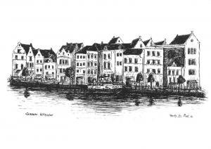 Dutch Caribbean Island Village Drawing by Franky Van Praet