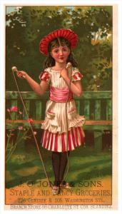 Girl skipping Rope   Victorian Trade Card