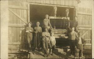 Men Workers Labor Horse Team Barn Pitchfork c1910 Real Photo Postcard