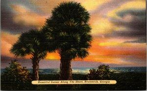 Brunswick, Ga.  Beautiful Sunset Along The Shore Linen Postcard Vintage