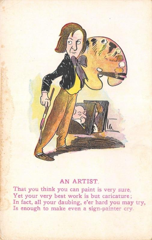 Artist Comic Poem~You Think You Paint For Sure, Just a Caricature~Palette c1910