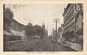 LPS36 Lancaster New York West Main Street Town View Postcard