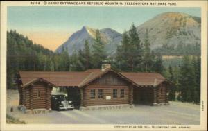 Yellowstone National Park Cooke Entrance Linen Haynes Postcard