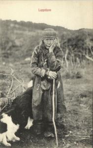 Sami Lapps Laplanders, Lappekone, Native Man with Dogs in Norway (1910s)