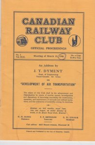 Canadian Railway Club Official Proceedings Booklet 1946 , MONTREAL , Canada