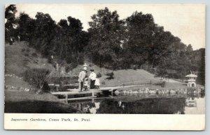 St Paul Minnesota~Como Park~Japanese Gardens~Family on Bridge~1908