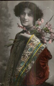 Beautiful Woman Kimono Robe & Flowers c1910 Tinted Real Photo Postcard