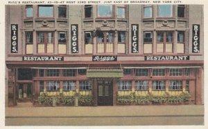 NEW YORK CITY, New York, 1924; Rigg's Restaurant, Just East of Broadway