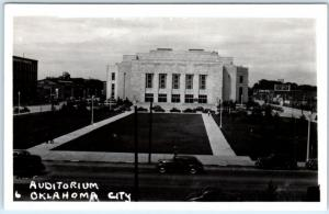 RPPC  OKLAHOMA CITY, OK    AUDITORIUM  ca 1940s Car  Real Photo  Postcard