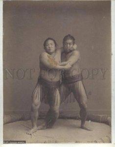 090646 JAPAN wrestlers & rickshaw Vintage two PHOTOS