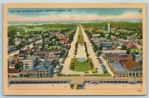 Postcard DE Rehoboth Beach Delaware Airview Rehoboth Avenue c1940s F28