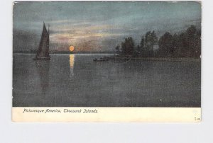 ANTIQUE POSTCARD NEW YORK THOUSAND ISLANDS SUNSET