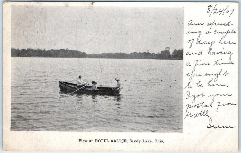 Sandy Lake, Ohio Postcard View at HOTEL AALTJE Lake Boating Scene 1907 Cancel
