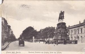 Gruss aus Berlin , Denkmal Friedrich des Grossen , Unter den Linden , Germany...