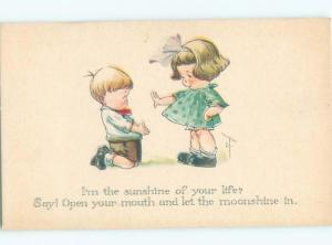 Pre-Linen signed GIRL REJECTING BOY ON HIS KNEES AC2057